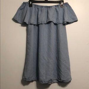 Off the shoulder jean dress